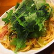 水菜とキャベツの柚子胡椒パスタ
