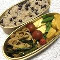 赤えんどう豆ご飯とトンスーシャ弁当