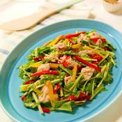 パプリカとツナのわさびポンマヨ和え水菜サラダ