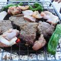 マリネしたビーフ、チキン、イカの BBQ