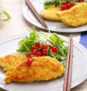 鶏ささみのチーズカレーパン粉焼き♪