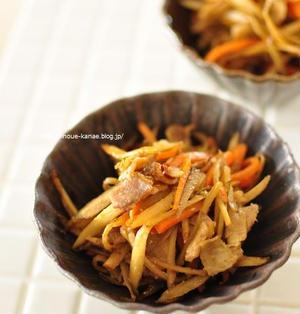 ≪常備菜にもお弁当にも◎豚バラとごぼうのクミン味噌きんぴら≫