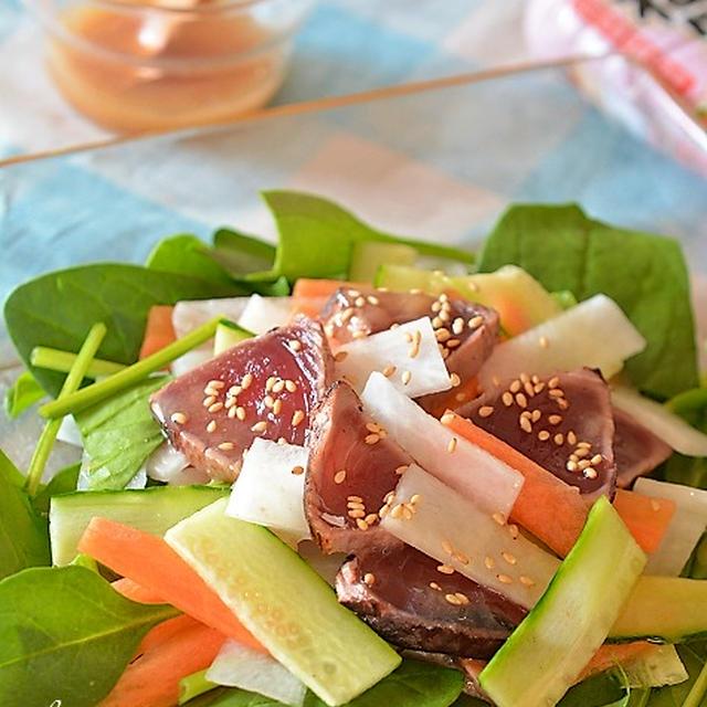 かつおのたたきと野菜のねり梅ドレッシングサラダ♪