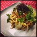 アンチョビとわさび菜のパスタ