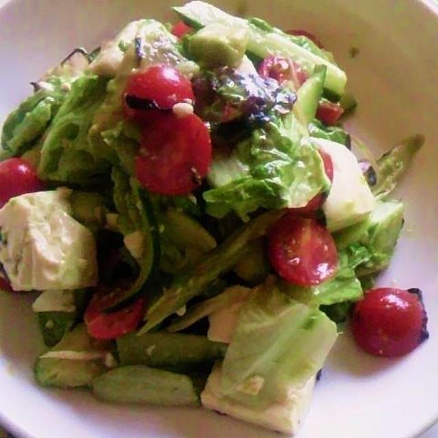 豆腐とアボガドのサラダ&ワサビドレッシング