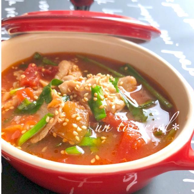 スタミナ効果‼︎パパッと10分調理♪ニラ豚のトマトスープ♡レシピ