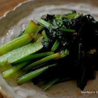 小松菜のからし醤油炒めとその後のおにぎらず