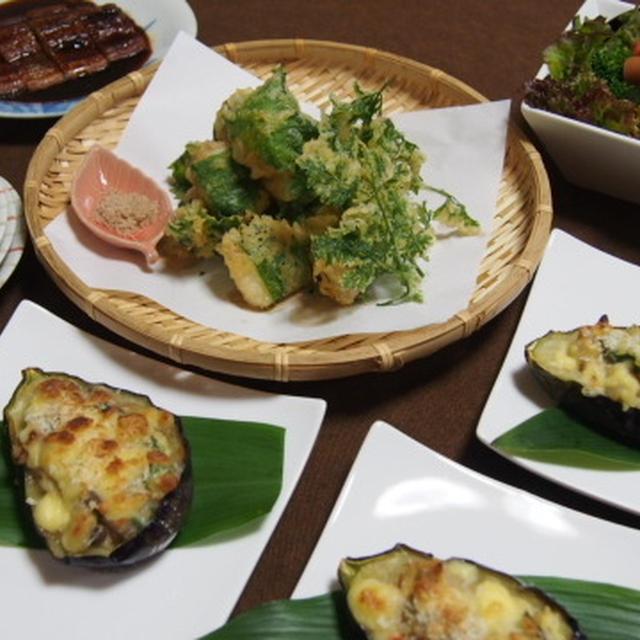 お茄子の白味噌グラタン  タラの大葉巻き天ぷら  ゴロゴロ野菜とソーセージのサラダ