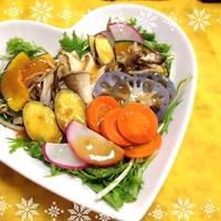 【レシピ】 きのこと根菜のグリルサラダ〜じんわり生姜ノンオイルドレッシングで♡