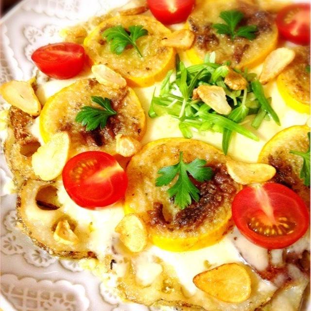 蓮根ピザ。ズッキーニのアンチョビバター焼き。
