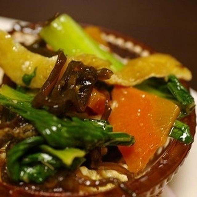 青梗菜の色とりどり塩昆布ナムル