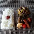 毎日のお弁当🍱卵焼き+さつま揚げ+マーボー那須+牛肉とキャベツとネギの炒めもの