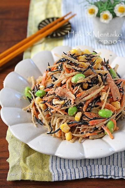 栄養満点作り置き♪デリ風ひじきとごぼうの明太子サラダ