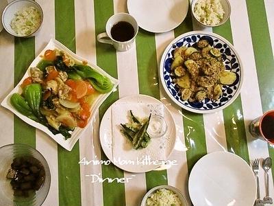 こんがるグリルした鶏肉が香ばしい、鶏肉と野菜の中華煮。
