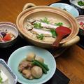 レシピ付き献立 アユご飯・鶏と里芋の含め煮・トマトの甘酢和え・冷ややっこ
