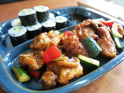オレンジチキン&巻き寿司定食