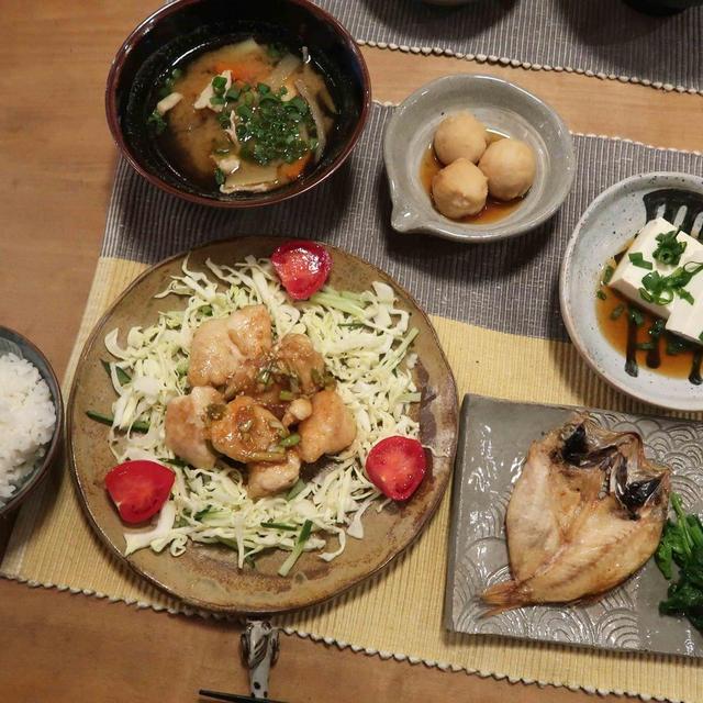 のどぐろの干物&鶏むね肉の油淋鶏風の晩ご飯と ラッパ水仙の花♪