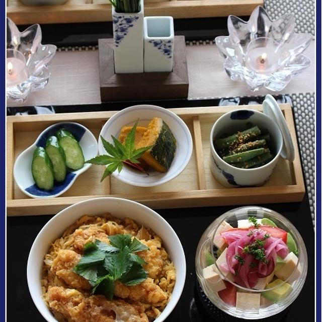 味噌漬け豆腐のサラダ!と、チキンカツ丼♪の日