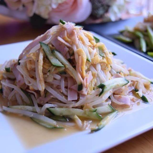 もやし・きゅうり・たまご・ハムの中華サラダ