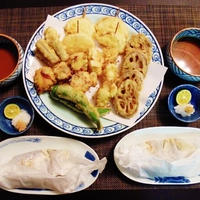 旬の根菜たっぷり天ぷら☆鱈のしょうゆの実マヨソースの包み蒸し♪☆♪☆♪
