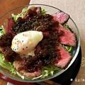 【ダンナ料理】簡単♪ガーリックライスのローストビーフ丼*玉ねぎソース温玉のせ【おうちごはん】