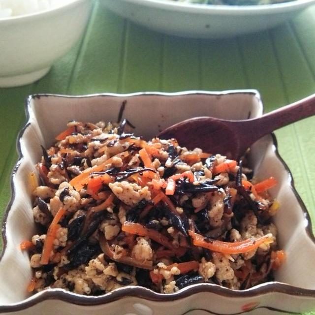 鶏ひき肉とひじきの炒め煮☆