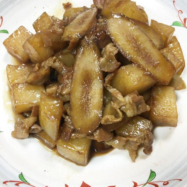 夕飯おかずに♬豚バラ大根とごぼうの炒め煮