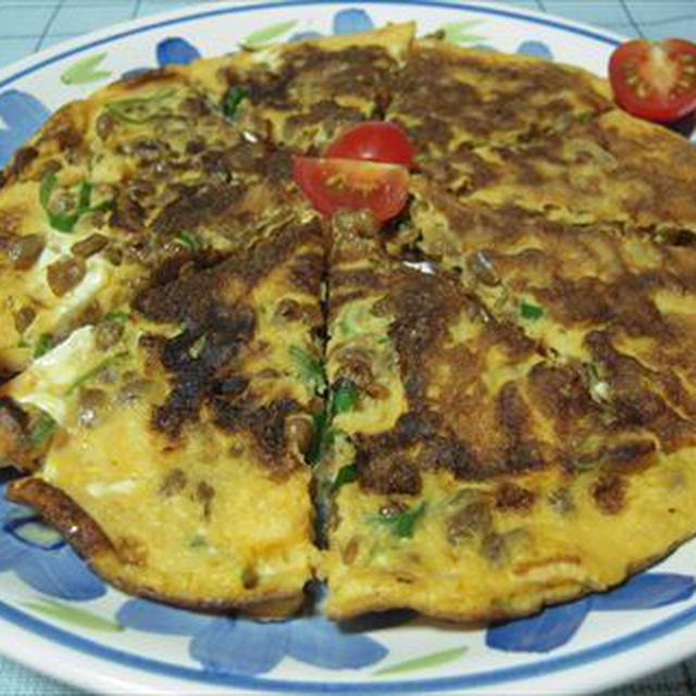 納豆オムレツ・ピザ風とポテトサラダdeワンプレート