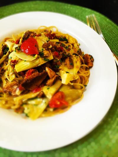 トレジョ de ご飯 @サーディンとアンティチョークのスパゲッティ