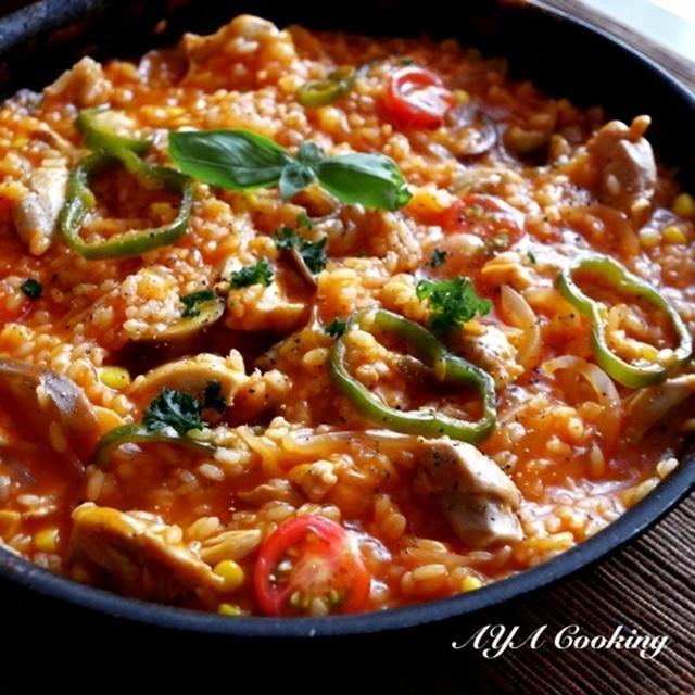 オチた…ナスと鶏肉とトマトベース、フライパンパエリア