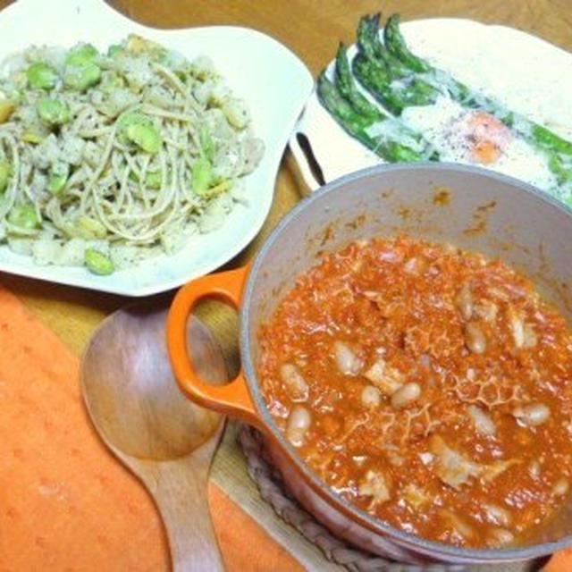 旬の美味しいアスパラとそら豆でぜひ!「アスパラのグリル・温泉卵添え」とリグーリアの夏の定番「そら豆とポテトのペスト・ジェノベーゼパスタ」