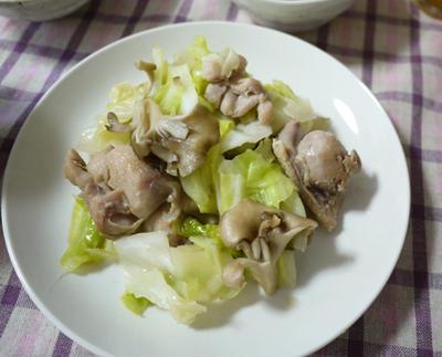 塩鶏とキャベツの炒めもの