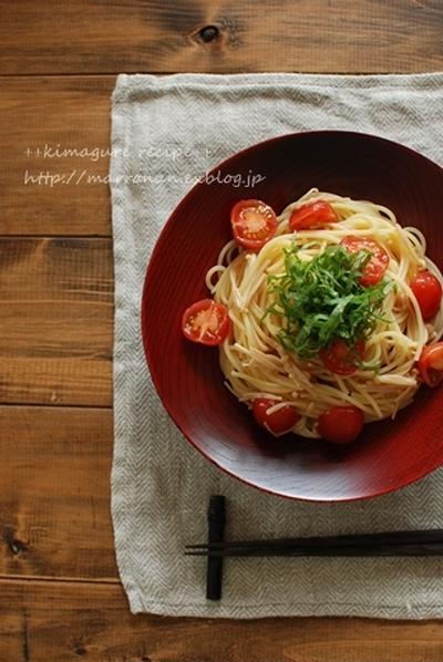 なめたけとミニトマトの冷製パスタ