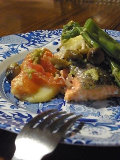 【Bistroでサーモンと野菜のアボマヨグリルのレシピ】