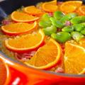 フライパンで作る♪オレンジとそら豆のパエリア。旬のフルーツを使ったとっておきおもてなし春レシピ by みぃさん