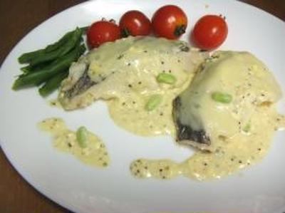 白身魚のマスタードチーズポワレ