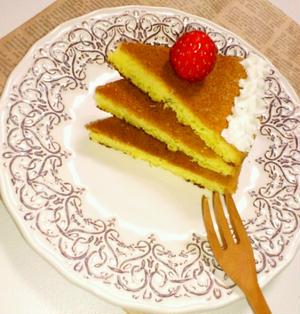 フライパン1つで超簡単♪カステラ第2弾!!パンケーキ風カステラ。