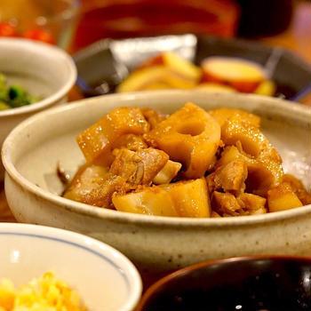 きのうの献立メモ。鶏肉とれんこんの炒め煮定食(2019.8.22)