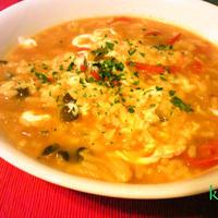 6月30日朝食:朝トマトカレーリゾット~『かけるチーズ』で美人度UP!~