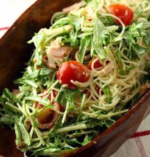 水菜とハムのパスタサラダ