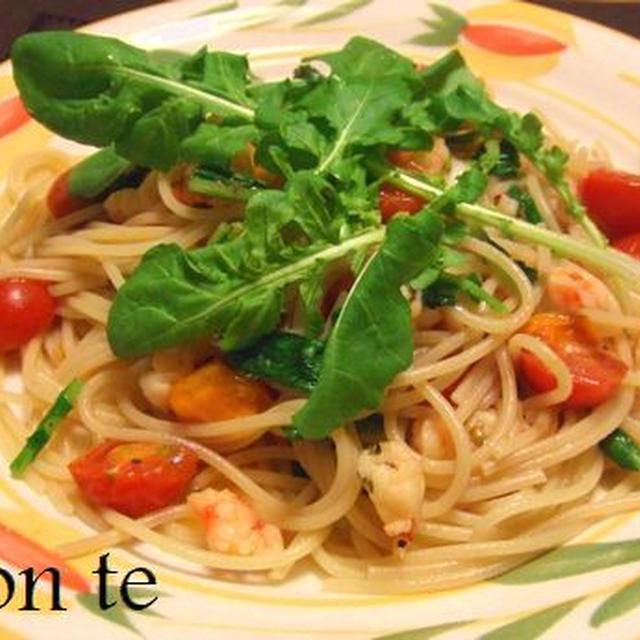 【パスタレシピ】 エビとルッコラのスパゲッティ