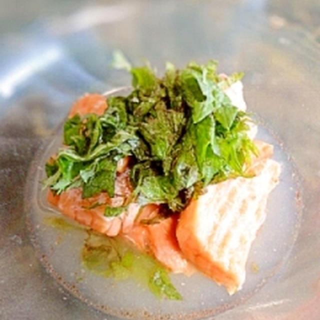 簡単副菜☆シャケの焼きマリネ大葉風味