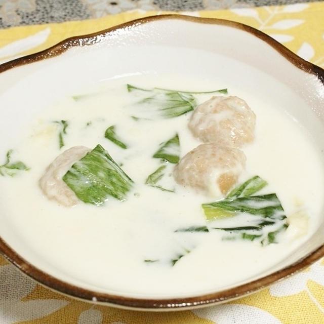 鶏団子とチンゲン菜のクリープスープ  調理時間15~30分