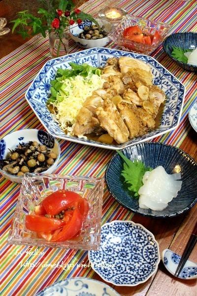 ◆チキンの醤油麹ソテーに赤イカの刺身♪~ゆるやか糖質制限中♪