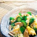 調味料不要ワンパン1分☆ツナ缶&ふわトロ卵のキュウリチャンプルー♪〈疲労回避〉