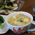 コンソメ顆粒で簡単『きのこと豆腐の洋風かきたまスープ』