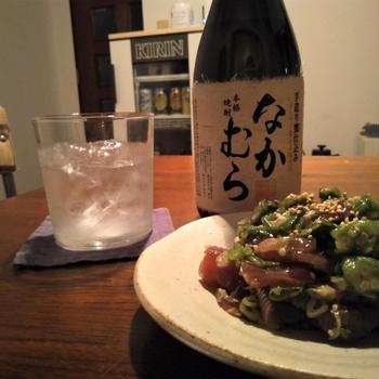 カツオのオクラネギダレ和え(柚子胡椒にんにく風味)
