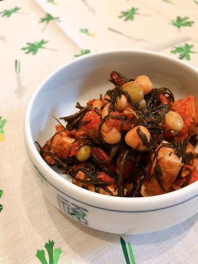 和食材を洋風に「ひじきトマト」で常備菜。