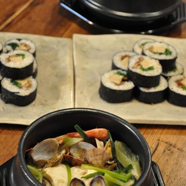 白スンドゥブチゲ & 韓国海苔巻 キンパプ