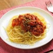 レシピブログ連載、豚ひき肉でミートスパゲティ